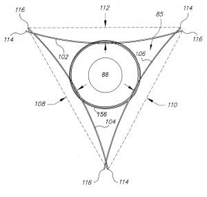 Anordnung der Edelstahlbänder im Dreieck - das Vorbild des ZIPPERMAST Logo